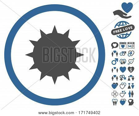 Bacterium pictograph with bonus amour graphic icons. Vector illustration style is flat iconic cobalt and gray symbols on white background.