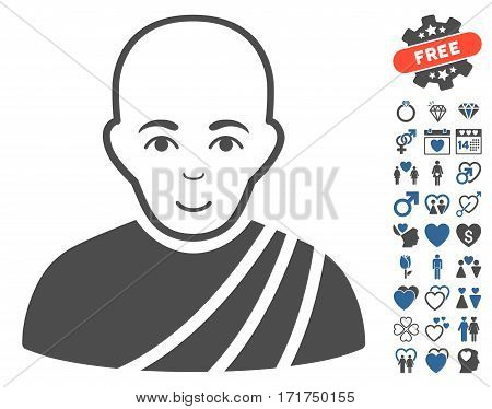 Buddhist Monk pictograph with bonus decoration pictograph collection. Vector illustration style is flat iconic cobalt and gray symbols on white background.