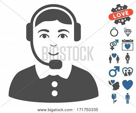 Call Center Operator icon with bonus dating pictograms. Vector illustration style is flat iconic cobalt and gray symbols on white background.