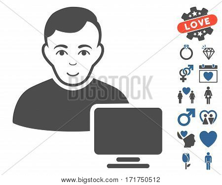 Computer Administrator pictograph with bonus valentine images. Vector illustration style is flat iconic cobalt and gray symbols on white background.