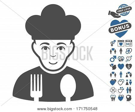 Cook pictograph with bonus decorative pictograph collection. Vector illustration style is flat iconic cobalt and gray symbols on white background.