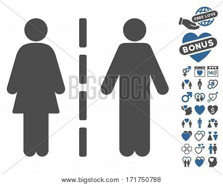 Divorce Line pictograph with bonus marriage pictograph collection. Vector illustration style is flat iconic cobalt and gray symbols on white background.
