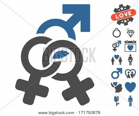 Double Mistress icon with bonus decorative graphic icons. Vector illustration style is flat iconic cobalt and gray symbols on white background.