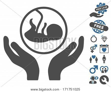 Embryo Care Hands pictograph with bonus passion pictures. Vector illustration style is flat iconic cobalt and gray symbols on white background.