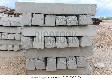 Stacking of concrete pillar waiting for construction