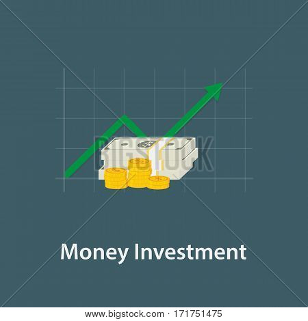 Money Investment Illustration. Pile Of Money and Growing Chart