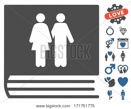 Family Album pictograph with bonus lovely pictures. Vector illustration style is flat iconic cobalt and gray symbols on white background.