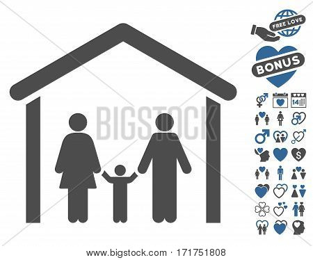 Family Cabin icon with bonus amour pictograms. Vector illustration style is flat iconic cobalt and gray symbols on white background.