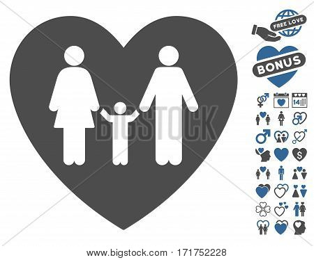 Family Love Heart pictograph with bonus amour pictograms. Vector illustration style is flat iconic cobalt and gray symbols on white background.