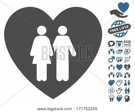 Family Love Heart pictograph with bonus amour design elements. Vector illustration style is flat iconic cobalt and gray symbols on white background.