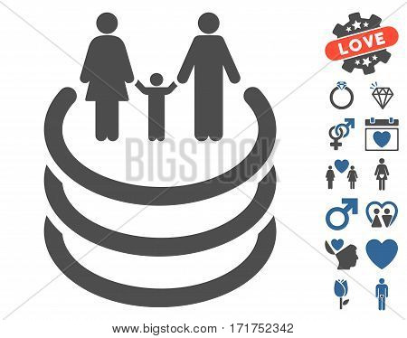 Family Portal icon with bonus dating pictograms. Vector illustration style is flat iconic cobalt and gray symbols on white background.