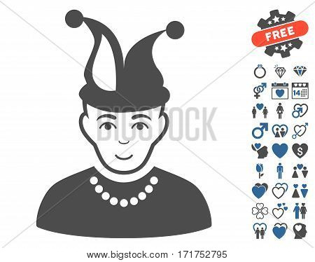 Fool pictograph with bonus marriage pictograph collection. Vector illustration style is flat iconic cobalt and gray symbols on white background.