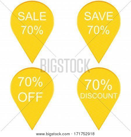 70 percent discount sign icon. Sale symbol
