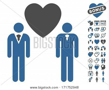 Gay Lovers pictograph with bonus decoration pictograph collection. Vector illustration style is flat iconic cobalt and gray symbols on white background.