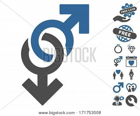 Gay Symbol icon with bonus amour symbols. Vector illustration style is flat iconic cobalt and gray symbols on white background.