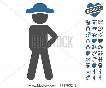 Gentleman Audacity icon with bonus dating images. Vector illustration style is flat iconic cobalt and gray symbols on white background.
