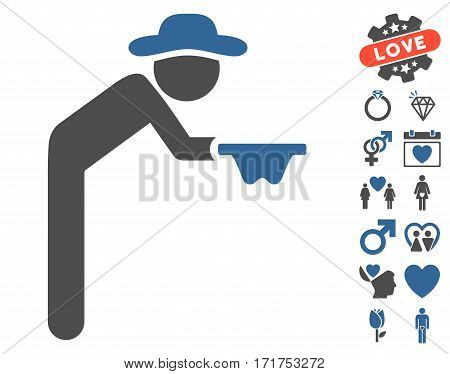 Gentleman Beggar pictograph with bonus lovely images. Vector illustration style is flat iconic cobalt and gray symbols on white background.