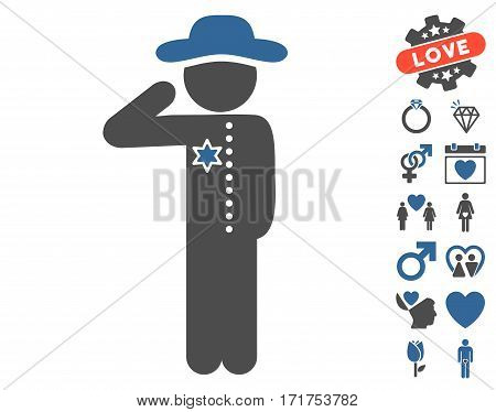 Gentleman Officer icon with bonus amour clip art. Vector illustration style is flat iconic cobalt and gray symbols on white background.
