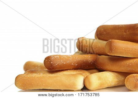 salty bread sticks isolated on white background