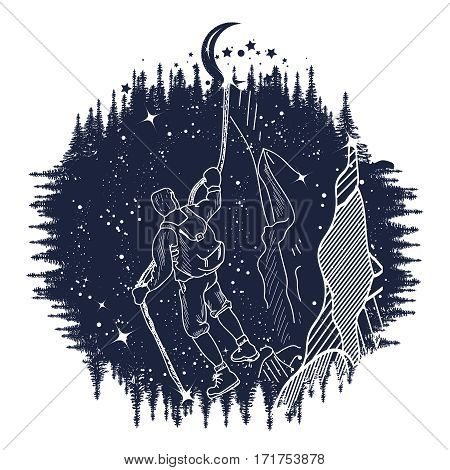 Mountain climber silhouette tatto art man climbing on rock moon on a rope. T-shirt design. symbol travel tourism adventure.