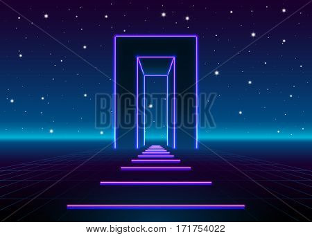 Neon 80s styled massive gate in retro game landscape with shiny road