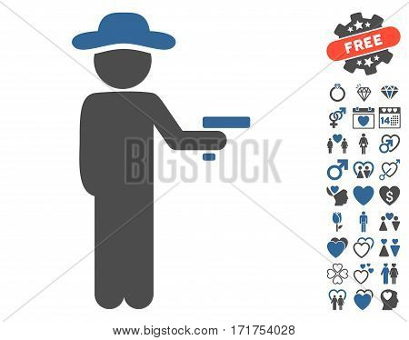 Gentleman Robber pictograph with bonus decorative pictograph collection. Vector illustration style is flat iconic cobalt and gray symbols on white background.