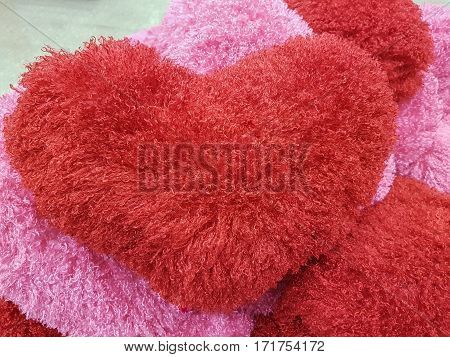 red and pink plush heart cusion valentine
