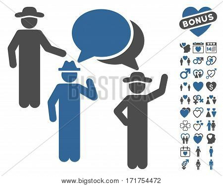 Gentlemen Discussion pictograph with bonus decorative icon set. Vector illustration style is flat iconic cobalt and gray symbols on white background.
