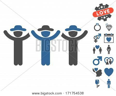 Gentlemen Hands Up Roundelay icon with bonus passion design elements. Vector illustration style is flat iconic cobalt and gray symbols on white background.