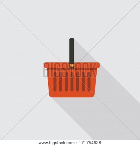 Flat Design of Red Shopping Basket Icon