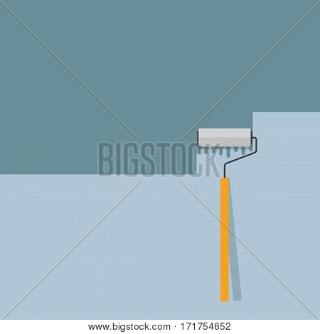Paint The Wall with Paint Roller Illustration