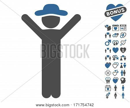 Happy Gentleman pictograph with bonus marriage graphic icons. Vector illustration style is flat iconic cobalt and gray symbols on white background.