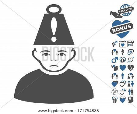 Head Stress icon with bonus amour images. Vector illustration style is flat iconic cobalt and gray symbols on white background.
