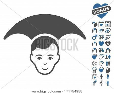 Head Umbrella pictograph with bonus decorative pictograph collection. Vector illustration style is flat iconic cobalt and gray symbols on white background.