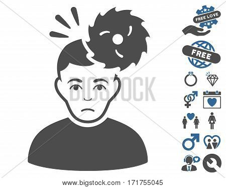 Headache icon with bonus dating symbols. Vector illustration style is flat iconic cobalt and gray symbols on white background.