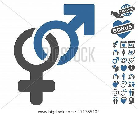 Heterosexual Symbol pictograph with bonus lovely pictograph collection. Vector illustration style is flat iconic cobalt and gray symbols on white background.