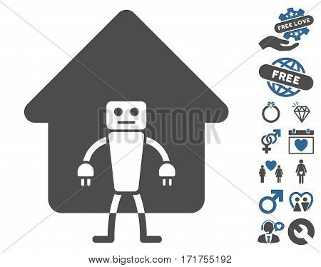 Home Robot icon with bonus romantic pictures. Vector illustration style is flat iconic cobalt and gray symbols on white background.
