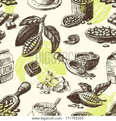 Vector cocoa hand drawn sketch. Doodle food chocolate sweet illustration. Vintage style plant natural bean ingredient. Organic cacao tropical menu seamless pattern.