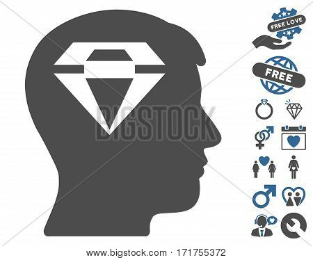 Human Head With Diamond icon with bonus valentine images. Vector illustration style is flat iconic cobalt and gray symbols on white background.