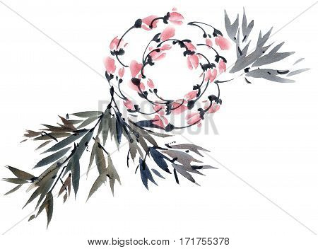 Watercolor and ink illustration of tree foliage and flowers in style sumi-e u-sin. Oriental traditional painting. Hand drawn background elements for decorative card or invitation.