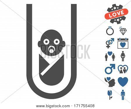 In Vitro Baby icon with bonus valentine symbols. Vector illustration style is flat iconic cobalt and gray symbols on white background.