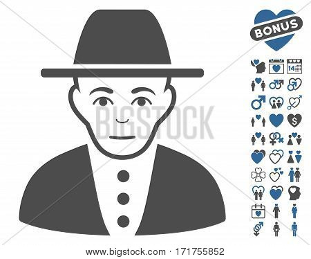 Jew icon with bonus decoration symbols. Vector illustration style is flat iconic cobalt and gray symbols on white background.