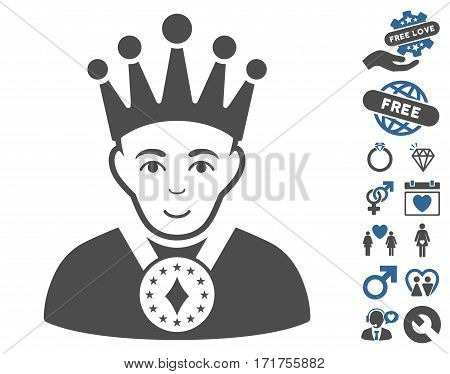 King icon with bonus passion design elements. Vector illustration style is flat iconic cobalt and gray symbols on white background.