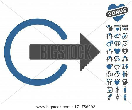 Logout pictograph with bonus lovely pictograms. Vector illustration style is flat iconic cobalt and gray symbols on white background.