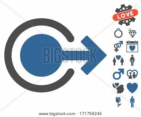 Logout icon with bonus passion symbols. Vector illustration style is flat iconic cobalt and gray symbols on white background.