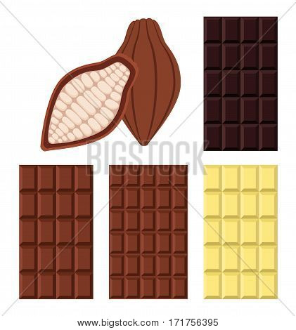 Set of white, milky, black chocolate and cacao. Flat vector style. Sweet organic cacao food.