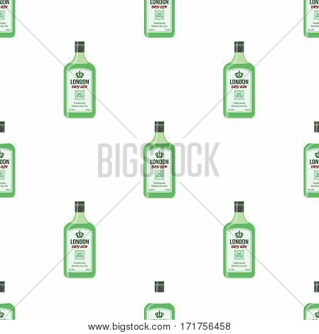 Gin bottles seamless pattern. Alcohol drink flat style design. Vector illustration for pubs, restaurants, hipster bars
