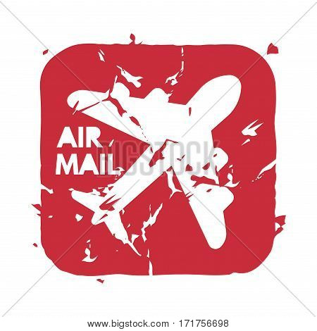 Vector vintage postage air mail stamp. Retro delivery envelope grunge print. Postmark design correspondence sign. Antique communication template texture.