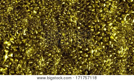 Abstract yellow background, 3d rendered geometry with dark spikes. Abstract 3d rendering of metal surface. Ferro sphere with magnet field.