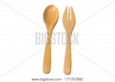 Kitchenware set of wooden spoon and fork isolate on white background